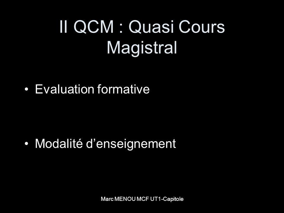 II QCM : Quasi Cours Magistral