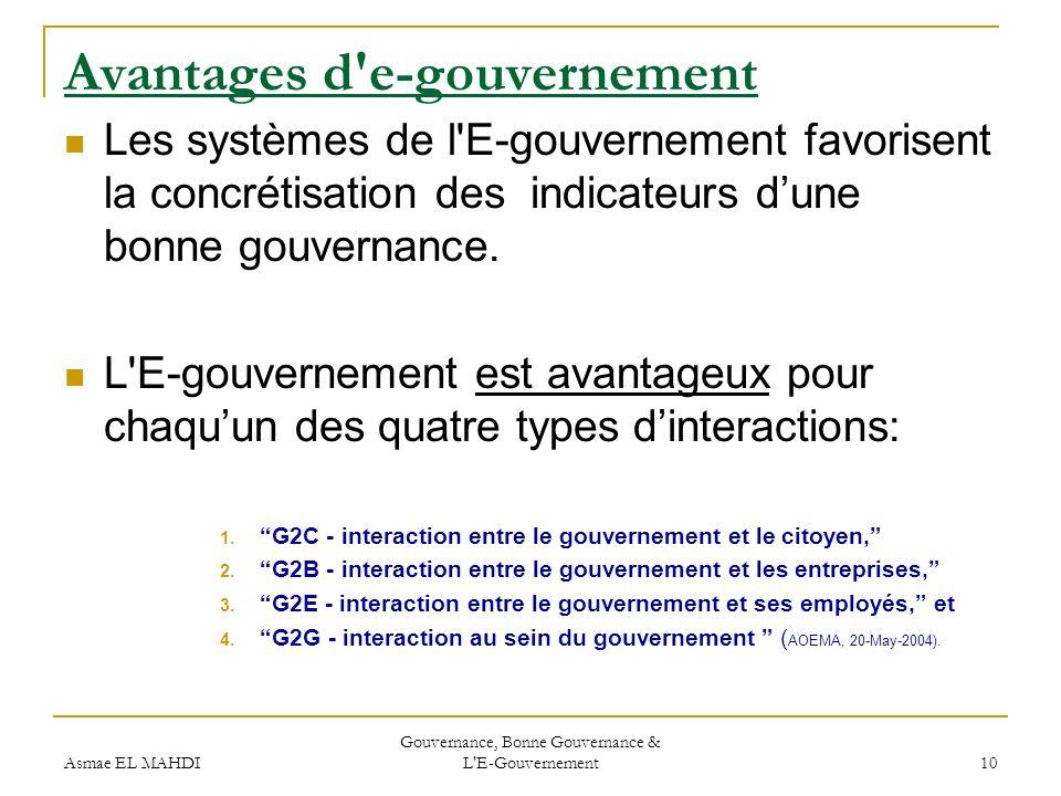 Avantages d e-gouvernement