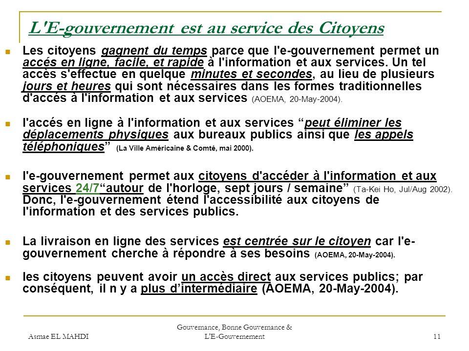 L E-gouvernement est au service des Citoyens