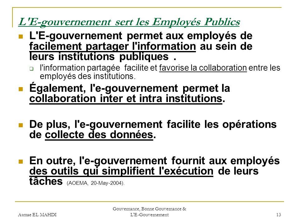 L E-gouvernement sert les Employés Publics