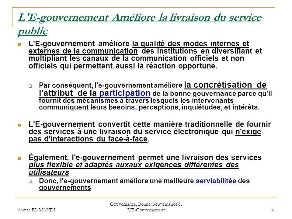 L E-gouvernement Améliore la livraison du service public