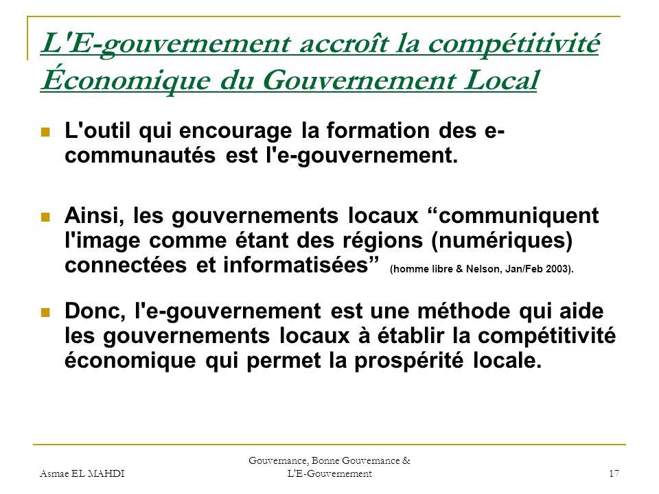 Gouvernance, Bonne Gouvernance & L E-Gouvernement
