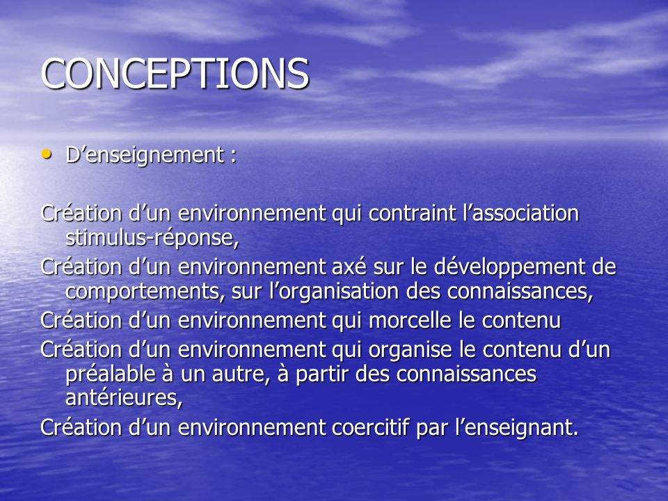CONCEPTIONS D'enseignement :