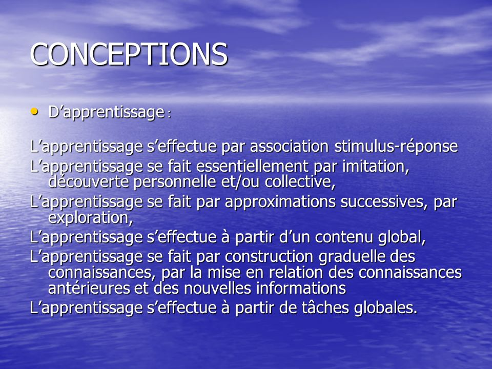 CONCEPTIONS D'apprentissage :