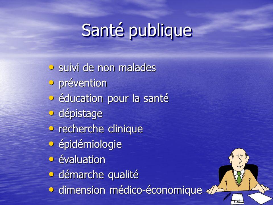 Santé publique suivi de non malades prévention éducation pour la santé