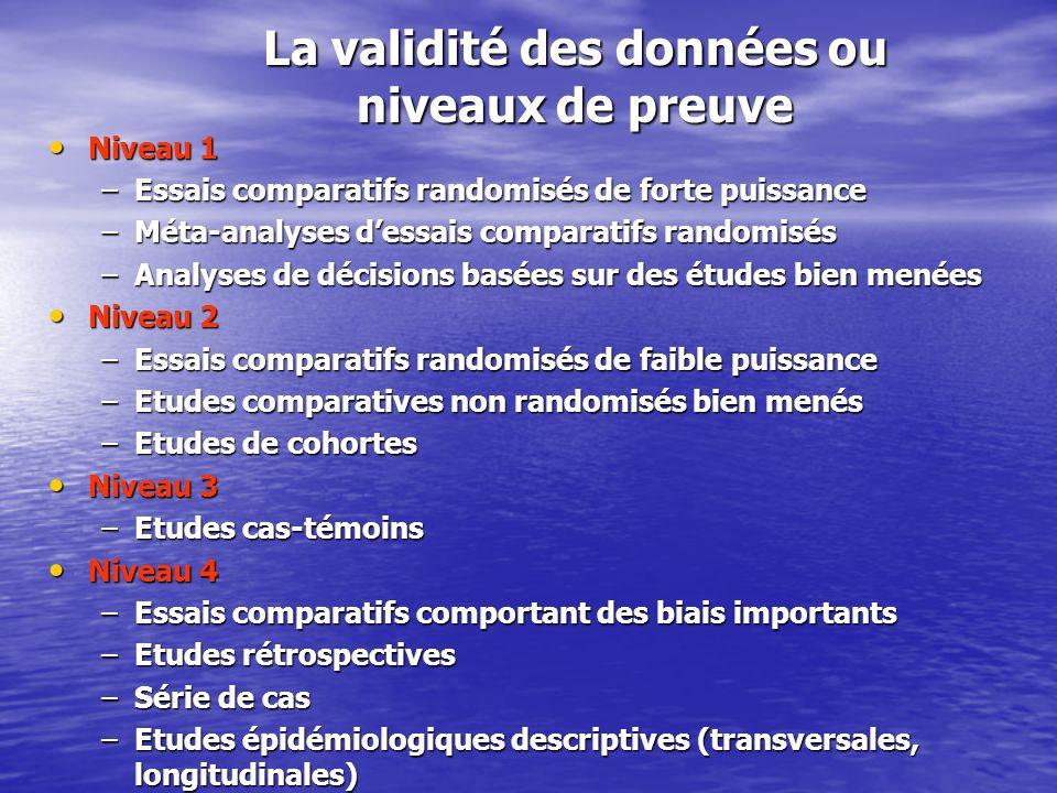 La validité des données ou niveaux de preuve