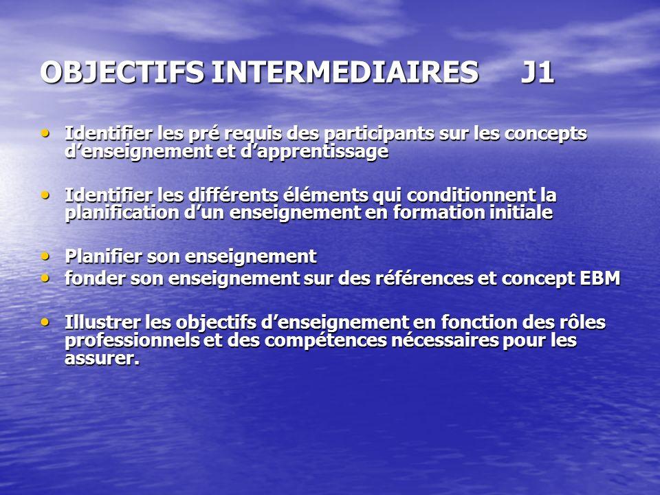 OBJECTIFS INTERMEDIAIRES J1