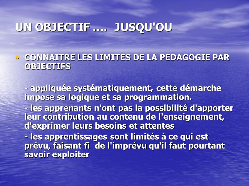 UN OBJECTIF …. JUSQU OU CONNAITRE LES LIMITES DE LA PEDAGOGIE PAR OBJECTIFS.