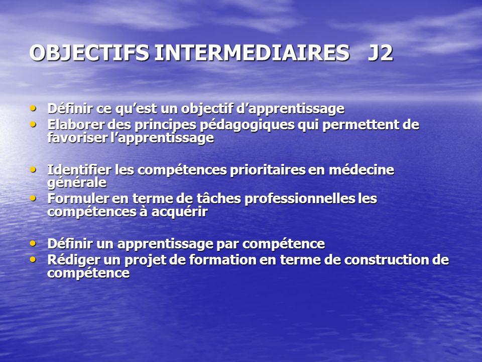 OBJECTIFS INTERMEDIAIRES J2