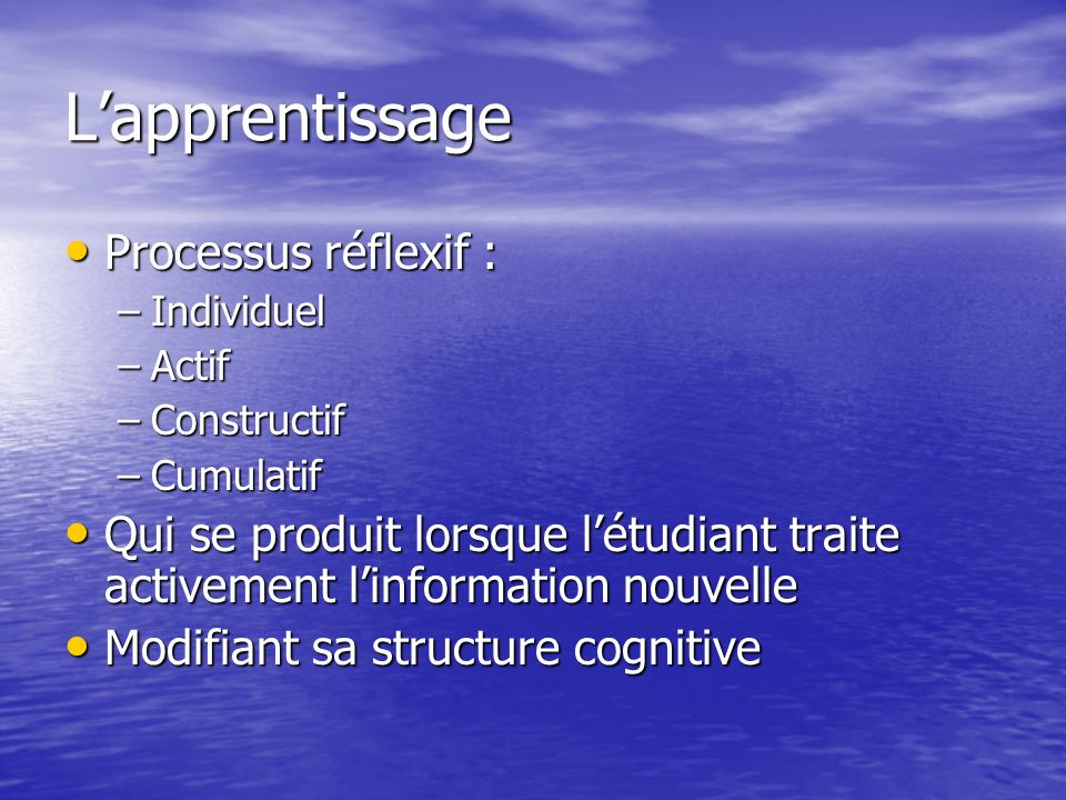 L'apprentissage Processus réflexif :