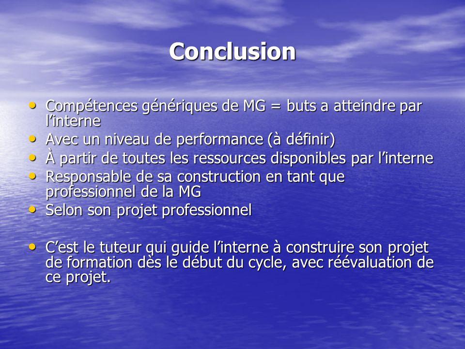 Conclusion Compétences génériques de MG = buts a atteindre par l'interne. Avec un niveau de performance (à définir)