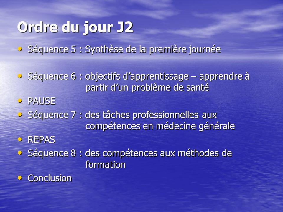 Ordre du jour J2 Séquence 5 : Synthèse de la première journée