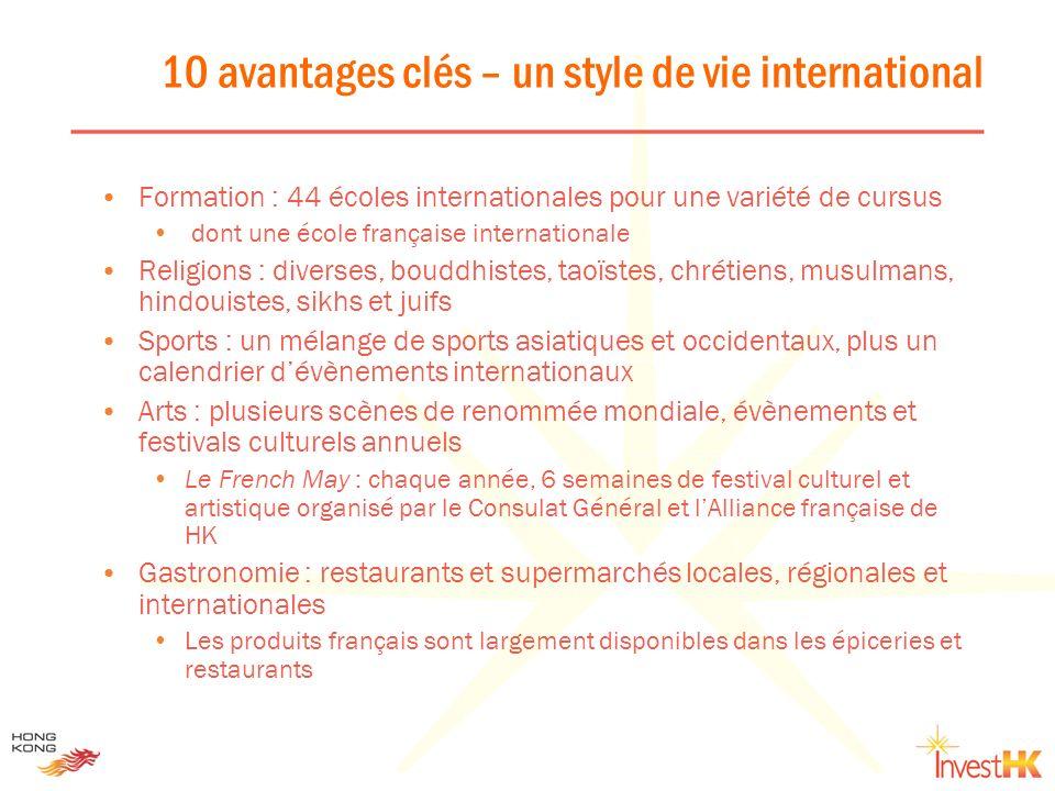10 avantages clés – un style de vie international