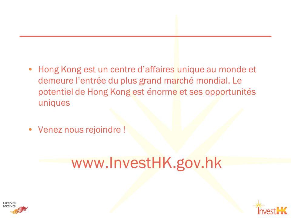 Hong Kong est un centre d'affaires unique au monde et demeure l'entrée du plus grand marché mondial. Le potentiel de Hong Kong est énorme et ses opportunités uniques