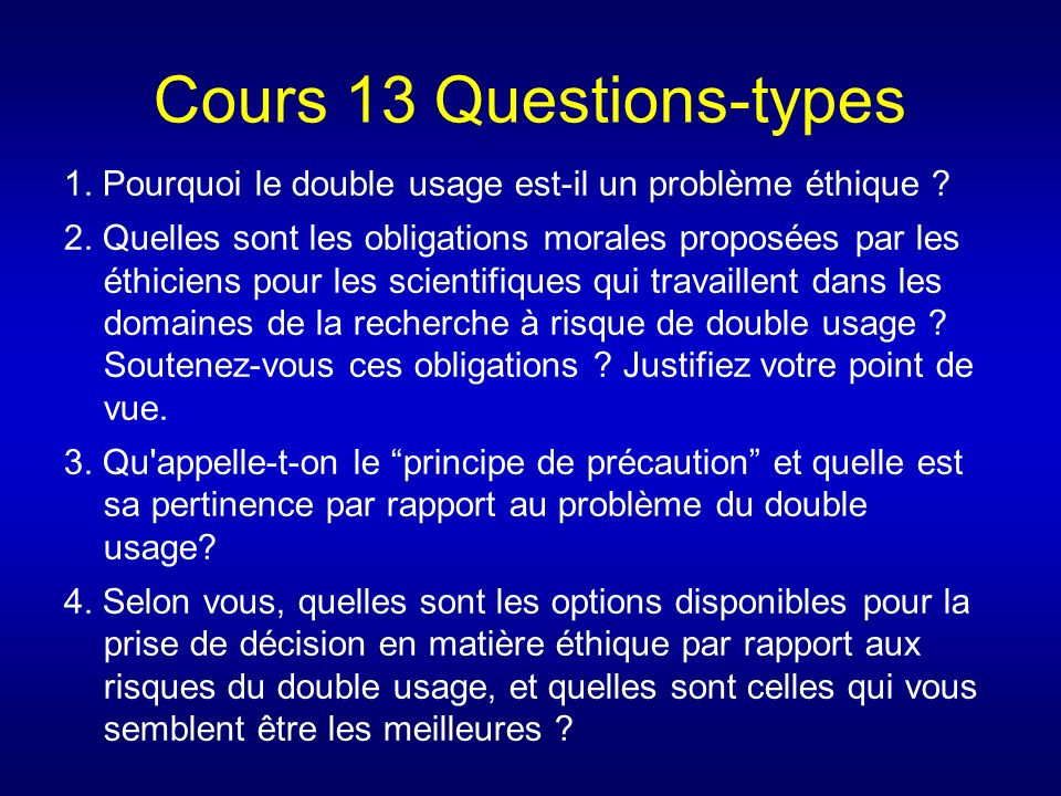 Cours 13 Questions-types