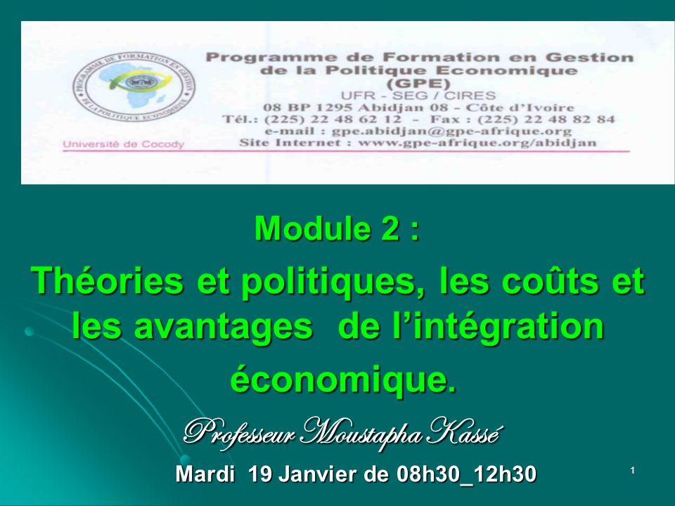 Théories et politiques, les coûts et les avantages de l'intégration