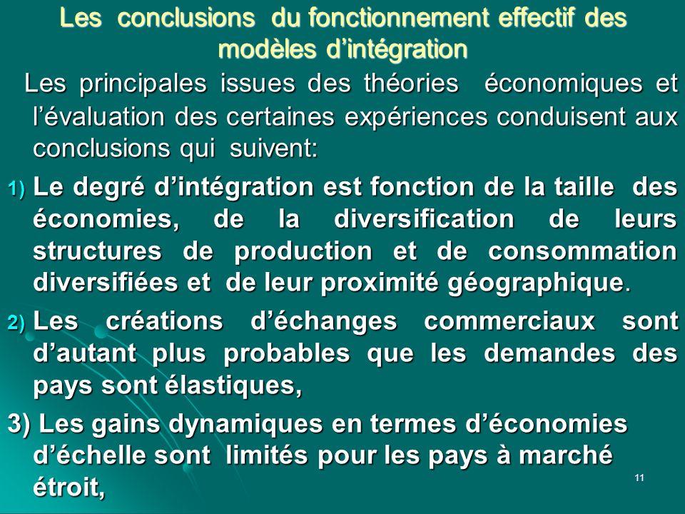 Les conclusions du fonctionnement effectif des modèles d'intégration