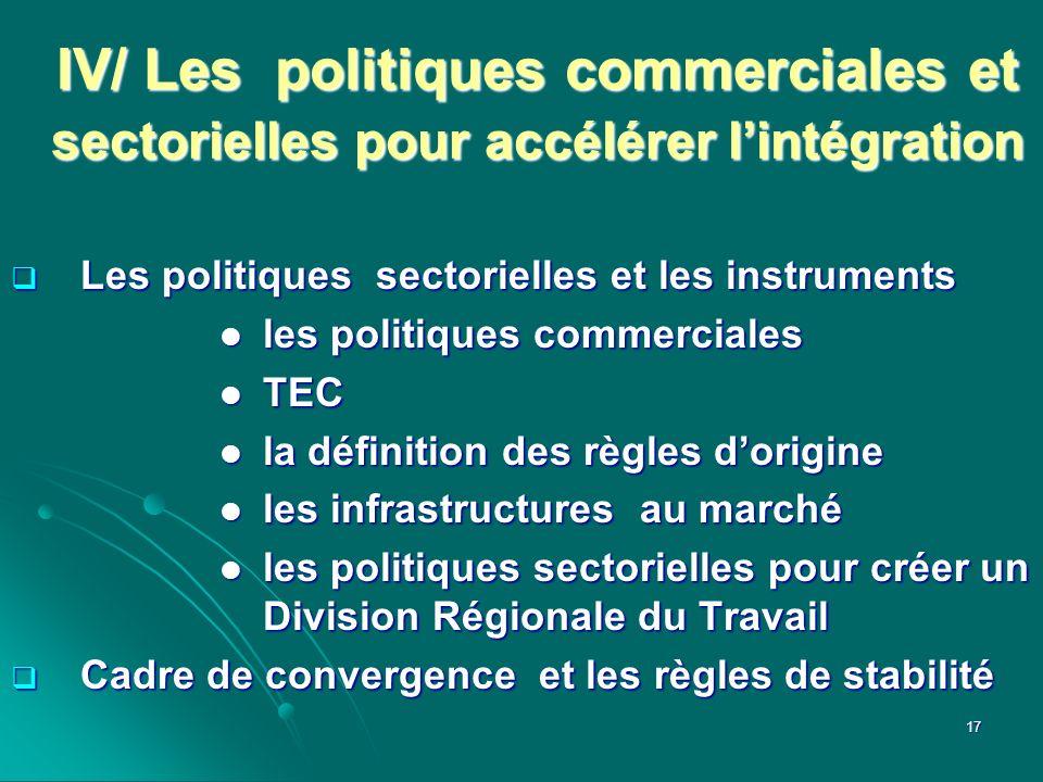 IV/ Les politiques commerciales et sectorielles pour accélérer l'intégration