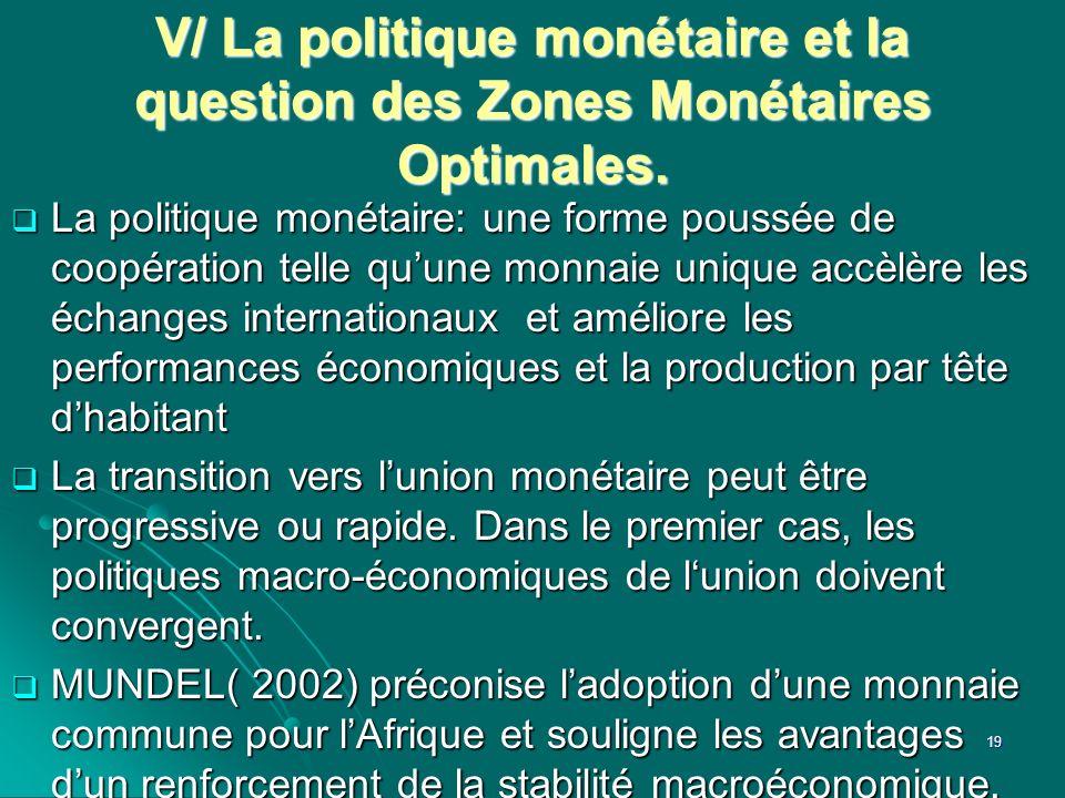 V/ La politique monétaire et la question des Zones Monétaires Optimales.