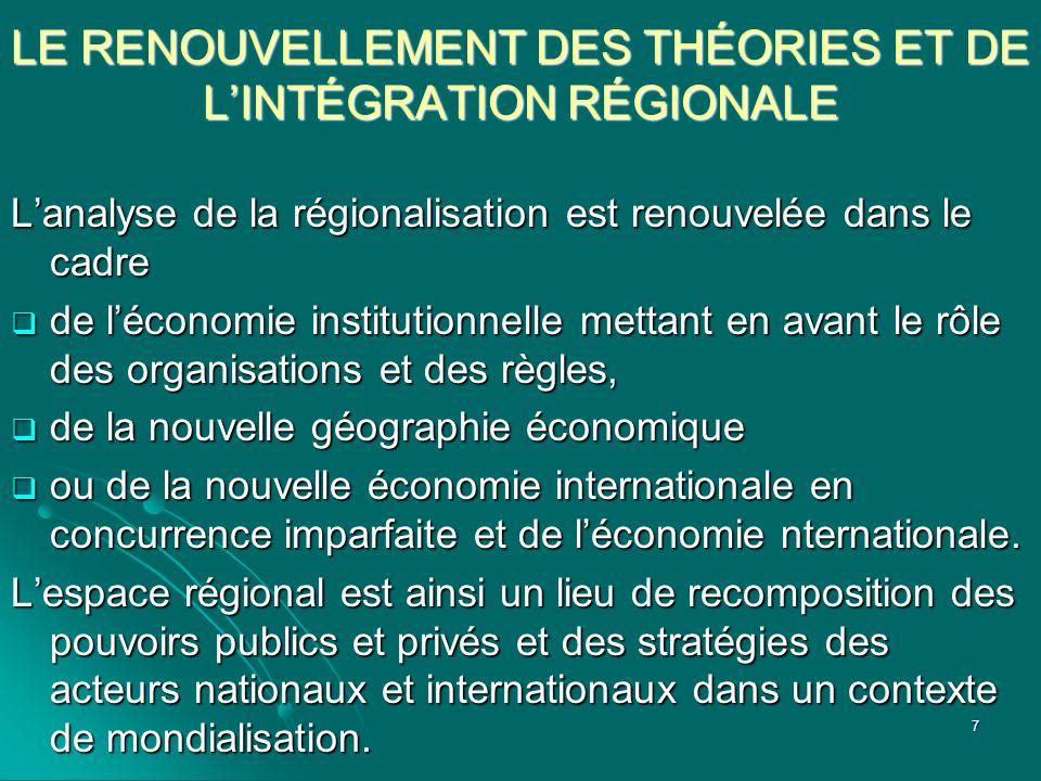 LE RENOUVELLEMENT DES THÉORIES ET DE L'INTÉGRATION RÉGIONALE