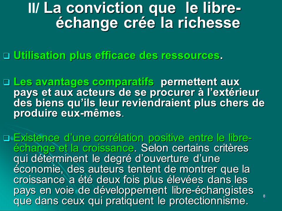II/ La conviction que le libre- échange crée la richesse