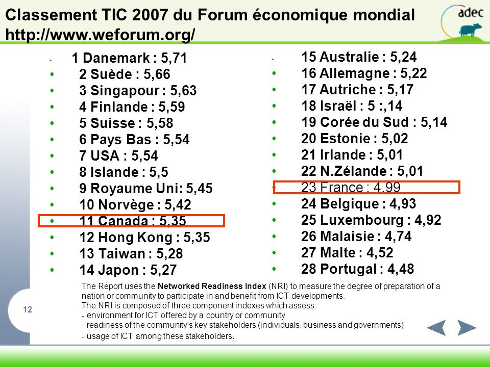 Classement TIC 2007 du Forum économique mondial http://www. weforum