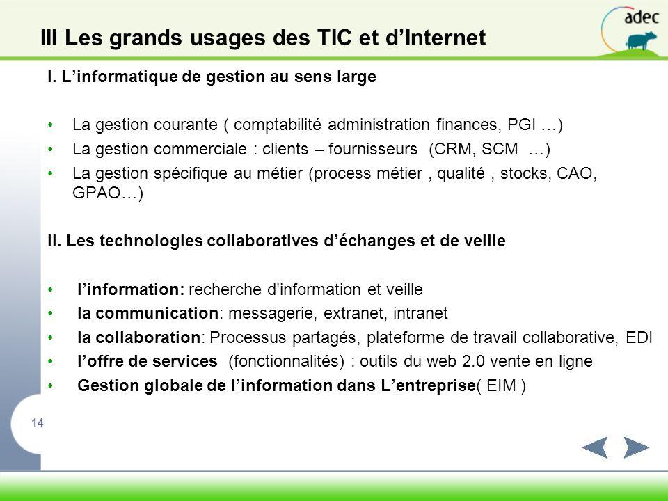 III Les grands usages des TIC et d'Internet