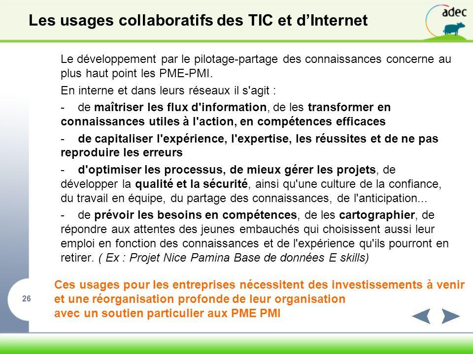 Les usages collaboratifs des TIC et d'Internet