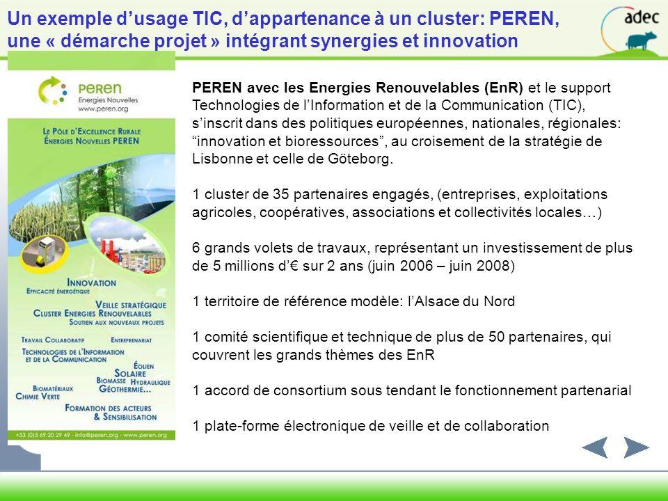 Un exemple d'usage TIC, d'appartenance à un cluster: PEREN,