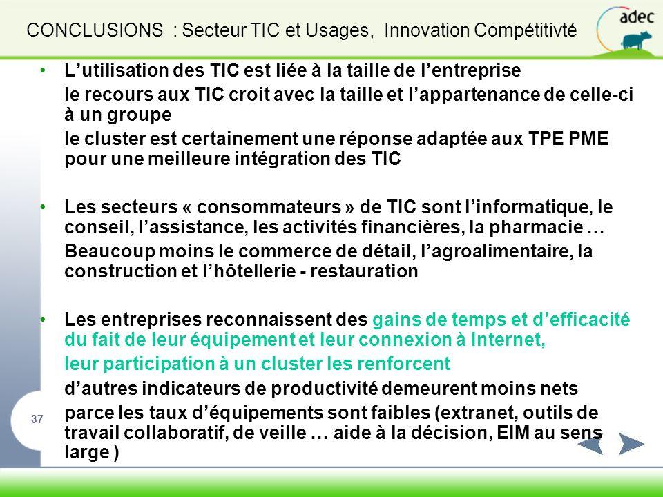 CONCLUSIONS : Secteur TIC et Usages, Innovation Compétitivté