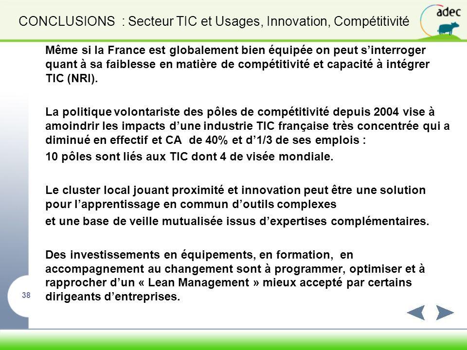 CONCLUSIONS : Secteur TIC et Usages, Innovation, Compétitivité