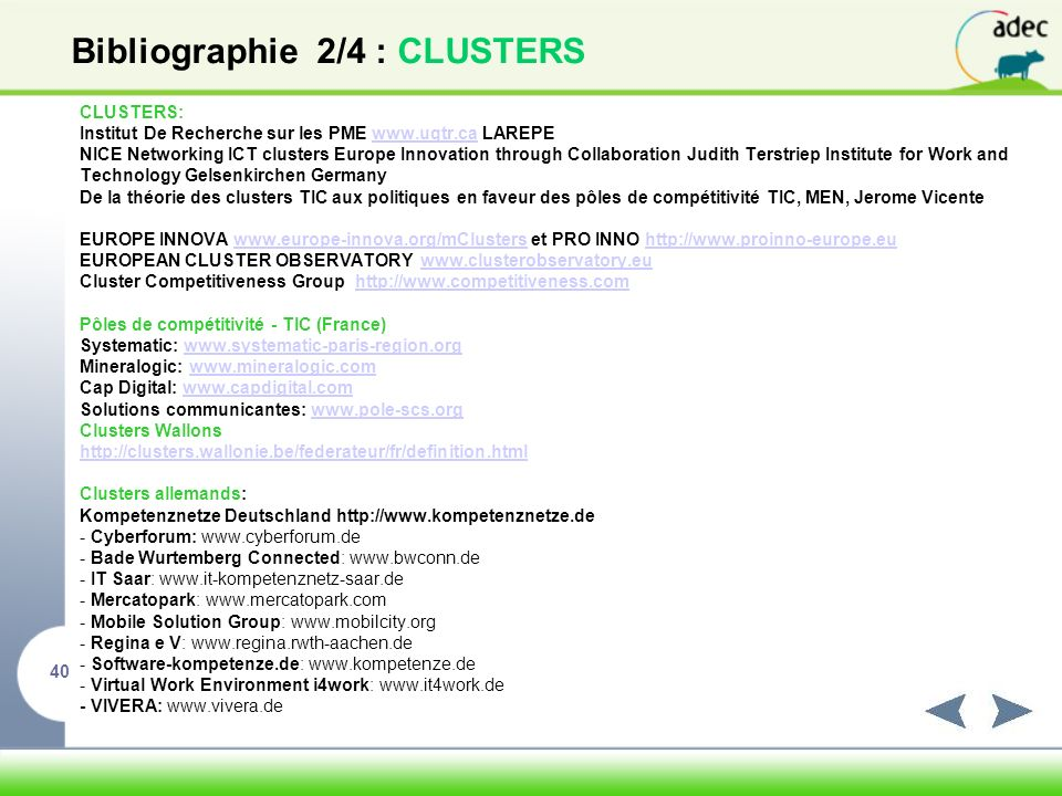 Bibliographie 2/4 : CLUSTERS