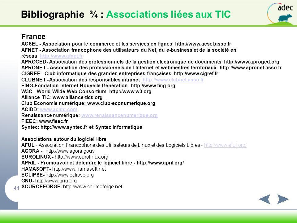 Bibliographie ¾ : Associations liées aux TIC