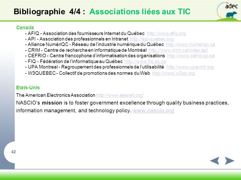 Bibliographie 4/4 : Associations liées aux TIC
