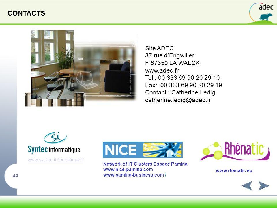 CONTACTS Site ADEC 37 rue d'Engwiller F 67350 LA WALCK www.adec.fr