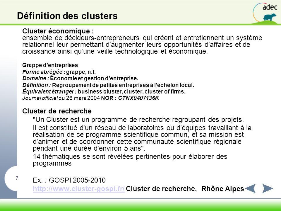 Définition des clusters