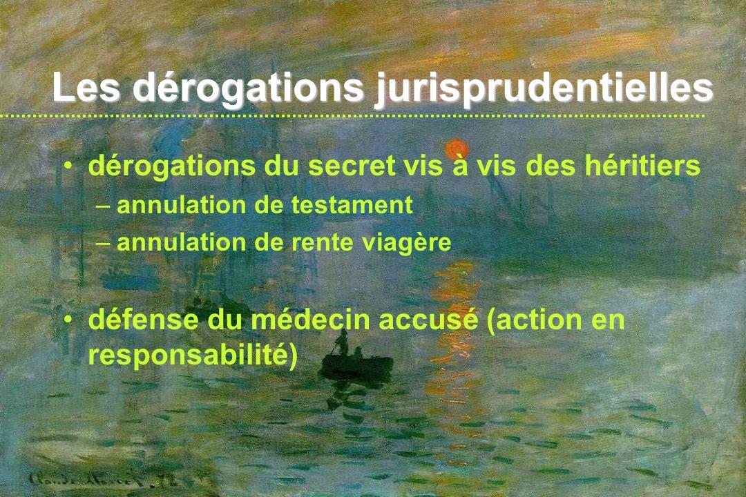 Les dérogations jurisprudentielles