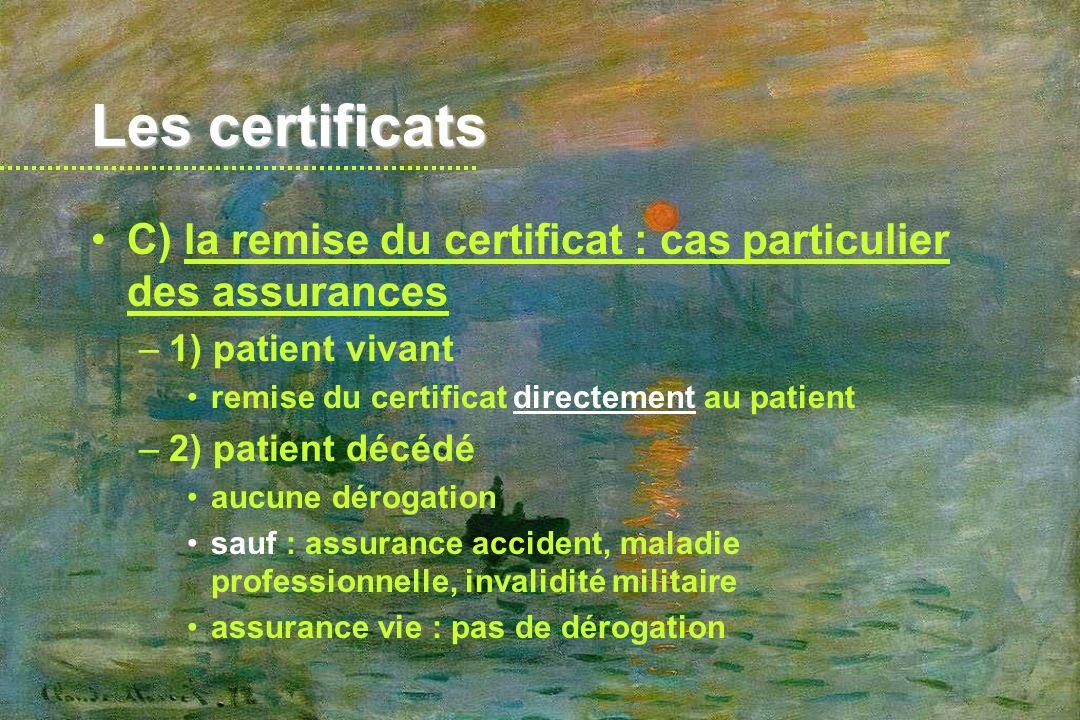 Les certificats C) la remise du certificat : cas particulier des assurances. 1) patient vivant. remise du certificat directement au patient.
