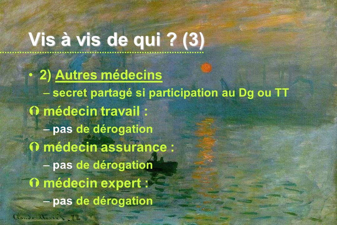 Vis à vis de qui (3) 2) Autres médecins médecin travail :