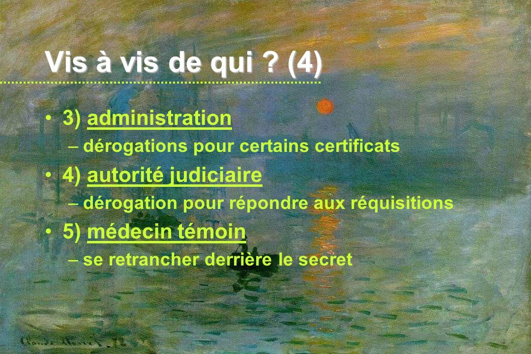Vis à vis de qui (4) 3) administration 4) autorité judiciaire