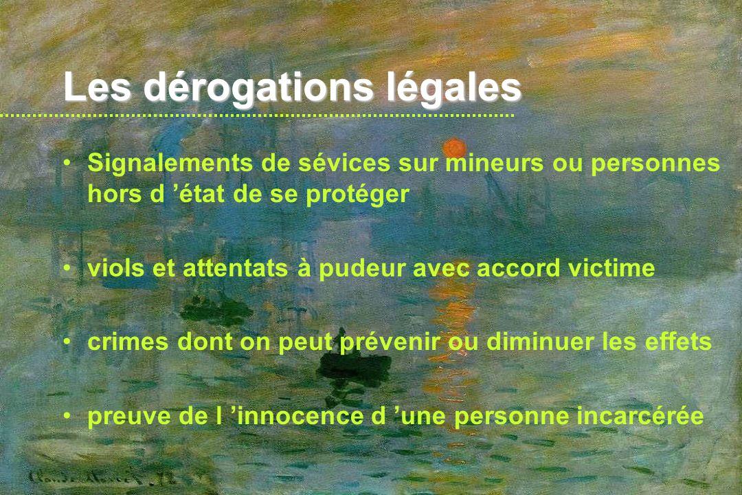 Les dérogations légales