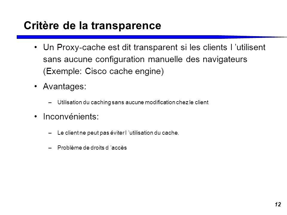 Critère de la transparence