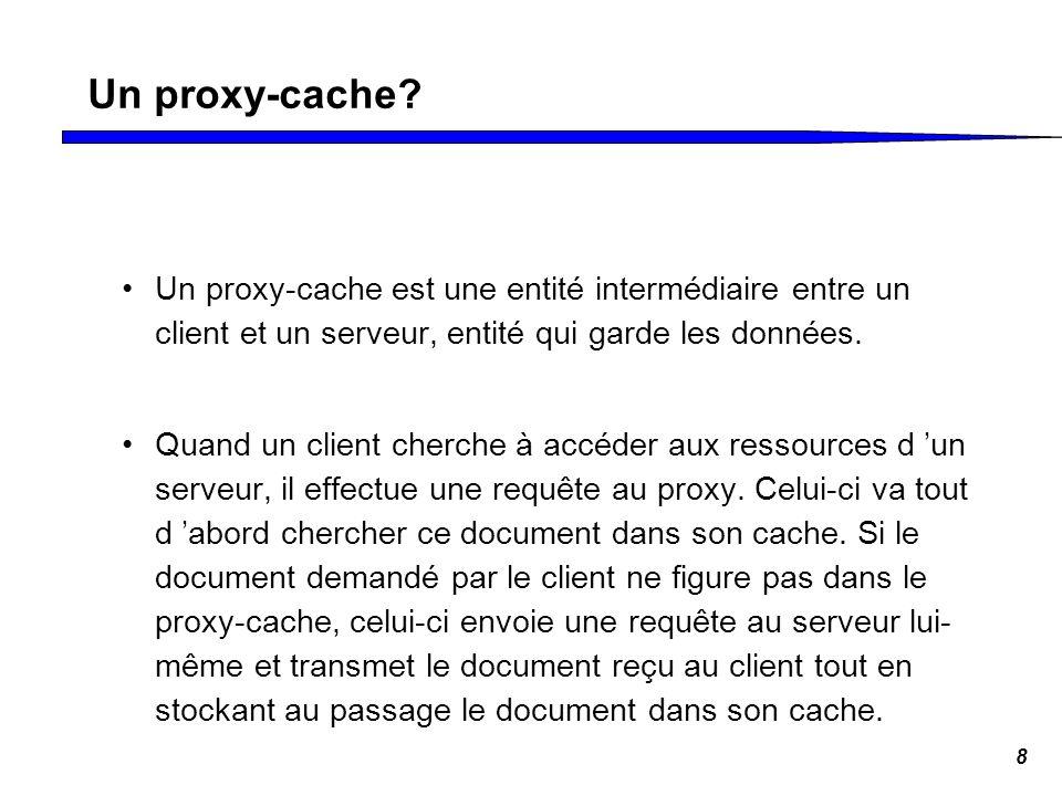 Un proxy-cache Un proxy-cache est une entité intermédiaire entre un client et un serveur, entité qui garde les données.
