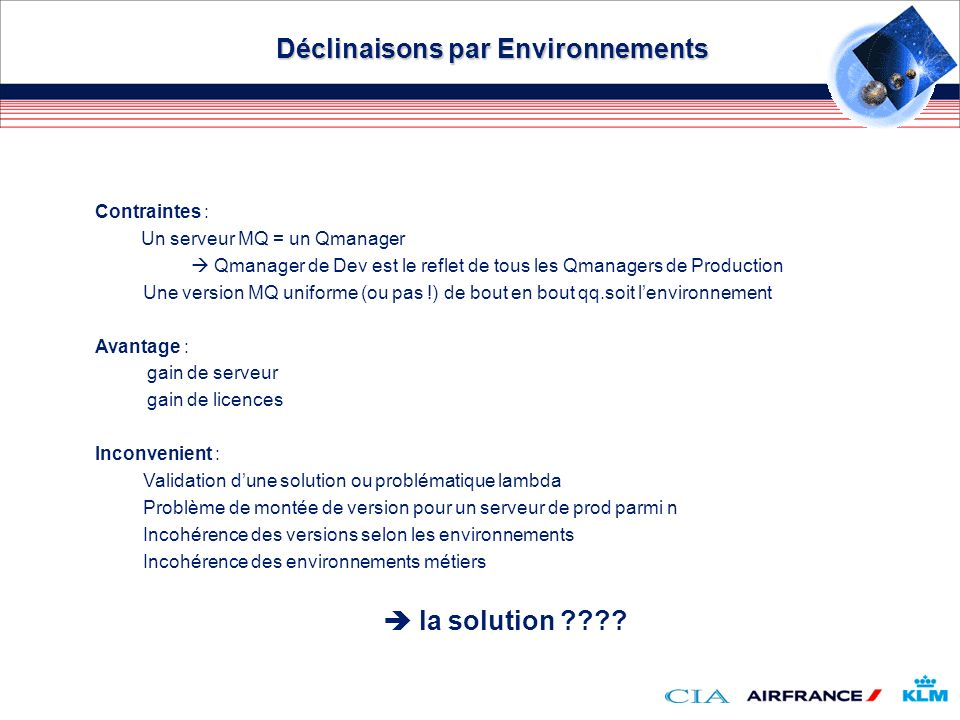 Déclinaisons par Environnements