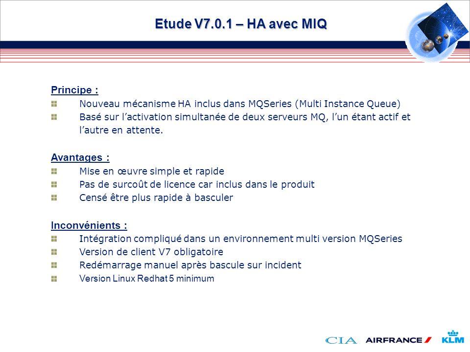 Etude V7.0.1 – HA avec MIQ Principe : Avantages : Inconvénients :