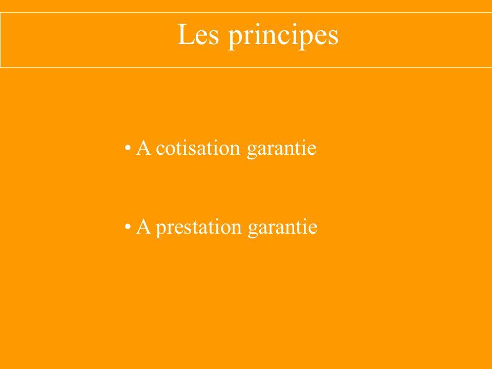 Les principes A cotisation garantie A prestation garantie