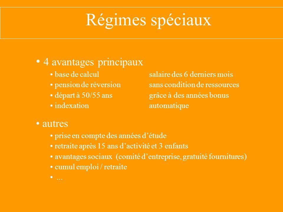 Régimes spéciaux 4 avantages principaux autres