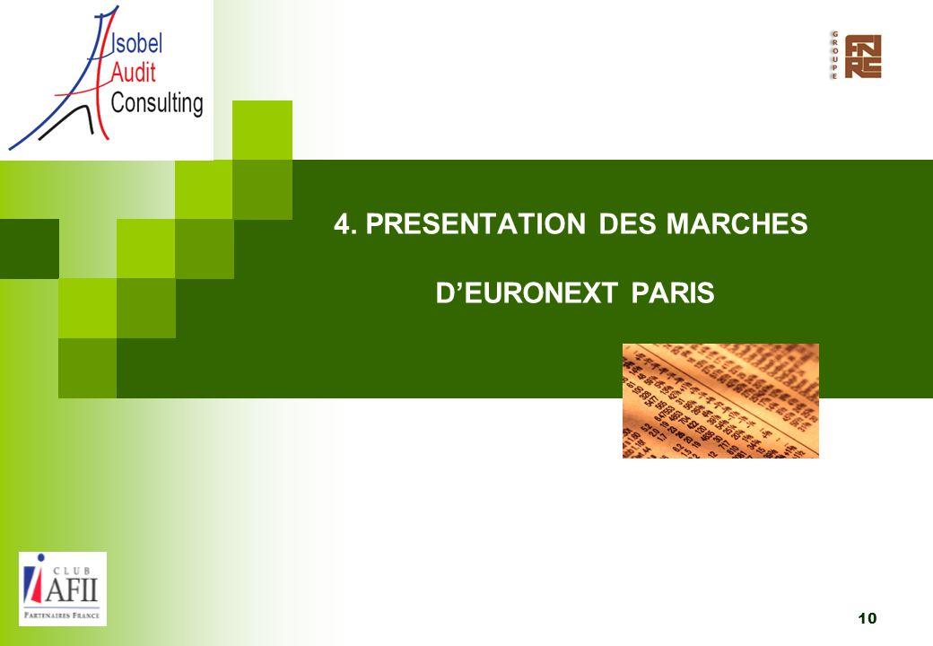4. PRESENTATION DES MARCHES D'EURONEXT PARIS