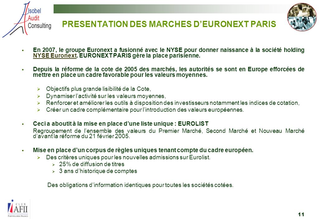 PRESENTATION DES MARCHES D'EURONEXT PARIS