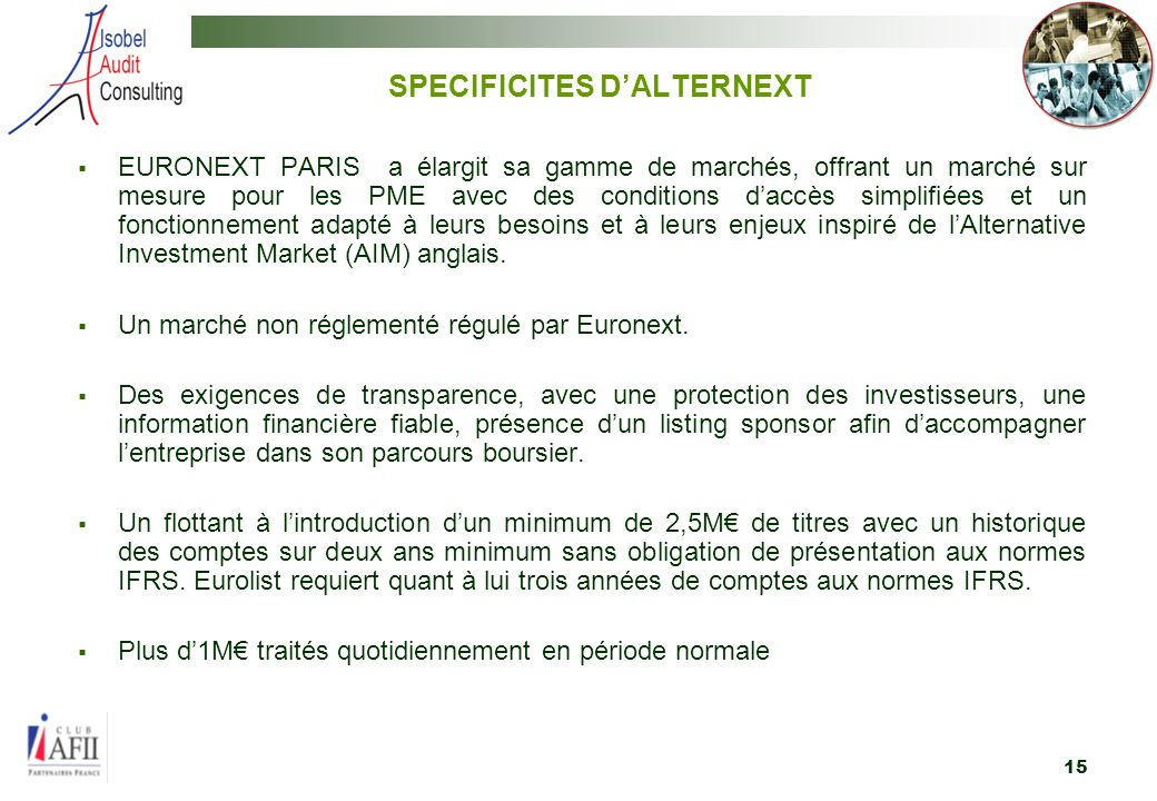 SPECIFICITES D'ALTERNEXT